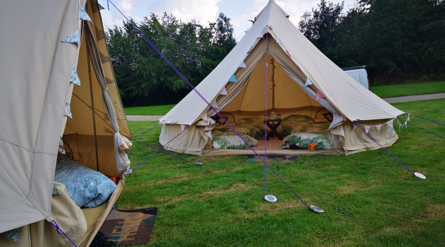 Two bell tents set up
